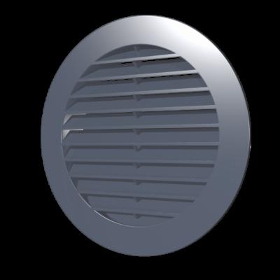 10RKN grey Kerek szellőzőrács, csőcsatlakozóval, D100 mm - Szürke